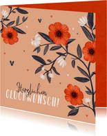 Hochzeitsjubiläum Glückwunsch Karte Blumen