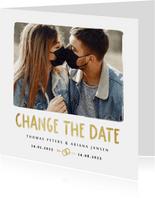 Hochzeitskarte Change-the-Date Foto Pinselstrich