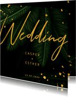Hochzeitskarte Einladung Gold & Palmen