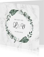Hochzeitskarte Einladung Marmor & Botanik