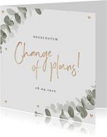 Hochzeitskarte Eukalyptusblätter Terminänderung