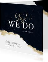 Hochzeitskarte 'Yes! We do' Aquarell schwarz-gold