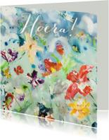 Hoera print kunst bloemenveld