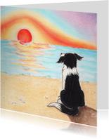 Kinderkaarten - Hondje Sendie ziet de zonsondergang