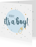 Hooray it's a boy! - felicitatiekaart geboorte