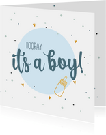 Hooray it's a boy! - felicitatiekaart geboorte