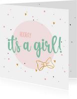 Hooray It's a girl - felicitatiekaart geboorte