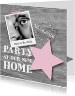 Housewarming party hout, ster en foto