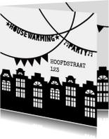 Housewarming party uitnodiging zwartwit slingers huisjes