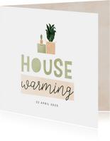 Housewarming uitnodiging met verhuisdoos en plantjes