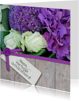 Hout lint en paars witte bloemen