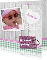 Hout met Label doop roze - BK