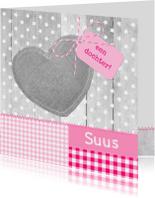 Geboortekaartjes - Hout Sterren Linnen Hart Suus