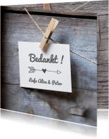 houten bedankkaart