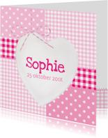 Geboortekaartjes - Houten Hart Wit Sophie
