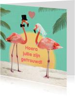 Felicitatiekaarten - huwelijk flamingos
