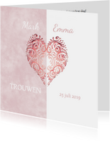 Huwelijk roze hart