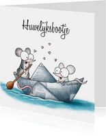 Huwelijksfelicitatie - twee muisjes in het huwelijksbootje
