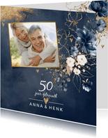 Huwelijksjubileum 50 uitnodiging aquarel bloemen