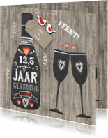 Huwelijksjubileum fles chalkbord