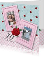 Huwelijksjubileum fotolijstjes rozen lief