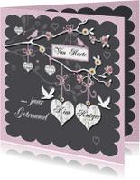 huwelijksjubileum takje met harten