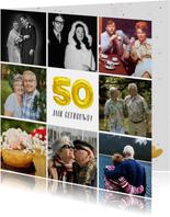 Huwelijksjubileum uitnodiging fotocollage 50 jaar getrouwd