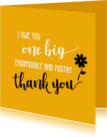 I owe you one big thank you - bedankkaart