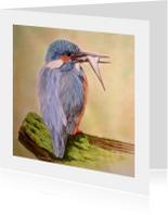 ijsvogel met visje - kunstkaart