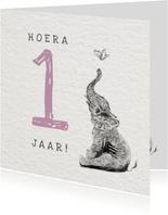 Illustratie kaartje met Olifant - Hoera 1 jaar