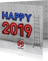 Industriële vierkante happy 2019 nieuwjaarskaart