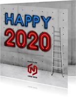 Industriële vierkante happy 2020 nieuwjaarskaart