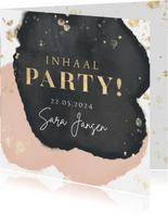 Inhaal party uitnodiging verjaardag goud spetters waterverf