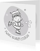 Kleurplaat kaarten - Inkleurkaart met schaatsend meisje