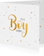 It's a boy-goud felicitatie kaart geboorte