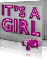 It's a girl stoere industriële geboortekaart voor meisje