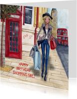 Jarig London Shoppen Meisje Illustratie