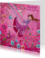 Jarig Meisje Bloemen Swing Illustratie