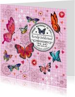 Jarig Meisje Bloemen Vlinder Label Roze