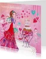Jarig Meisje Taart Roze Illustratie S