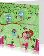 Jarig meisje Vogel Uil Illustratie
