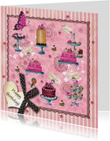 Jarig Roze Strepen Cupcake Vlinder Hart