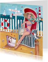 Jarig Strand Zee Zomer Meeuw Illustratie