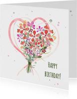 Jarigkaart met boeket bloemen en harten