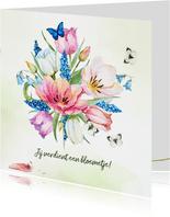 Verjaardagskaart met tulpenboeket