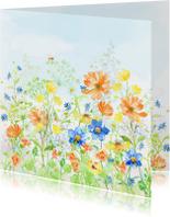 Jarigkaart met vrolijk gekleurde bloemen