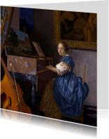 Johannes Vermeer. Zittende Klavecimbelspeelster