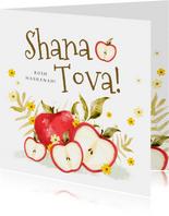 Joods nieuwjaarskaart met appels en kleine bloemen