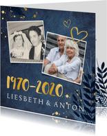 Jubiläumskarte 50. Hochzeitstag mit Fotos und Herzen