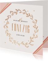 Jubiläumskarte Hochzeitstag mit goldenem Kranz